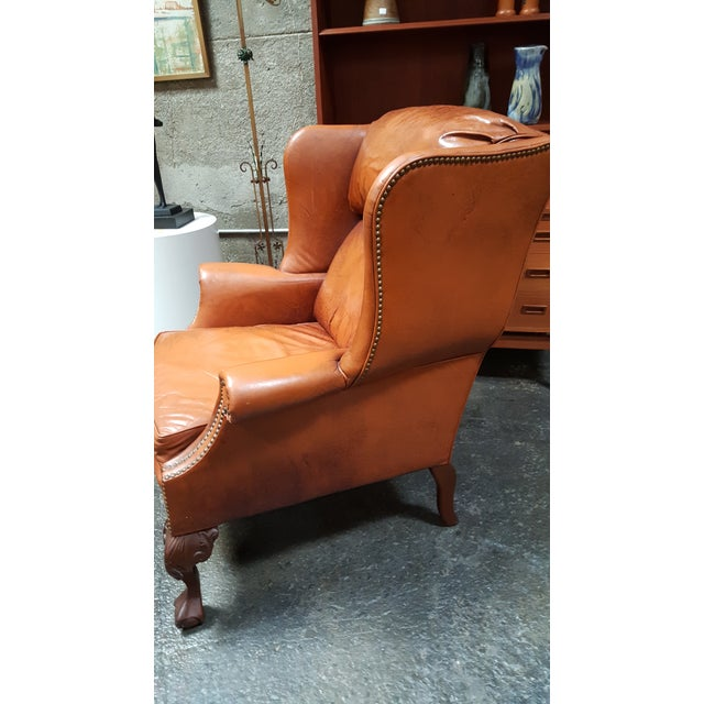 Schafer Brothers Leather Wing Chairs - Pair For Sale - Image 10 of 10