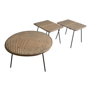 Vintage Mid-Century Modern Cane Tables - Set of 3 For Sale