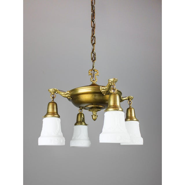Arts & Crafts Antique Pan Light Fixture (4-Light) For Sale - Image 3 of 8