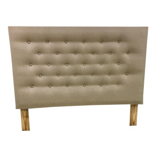 Belgian Linen Tufted Headboard For Sale
