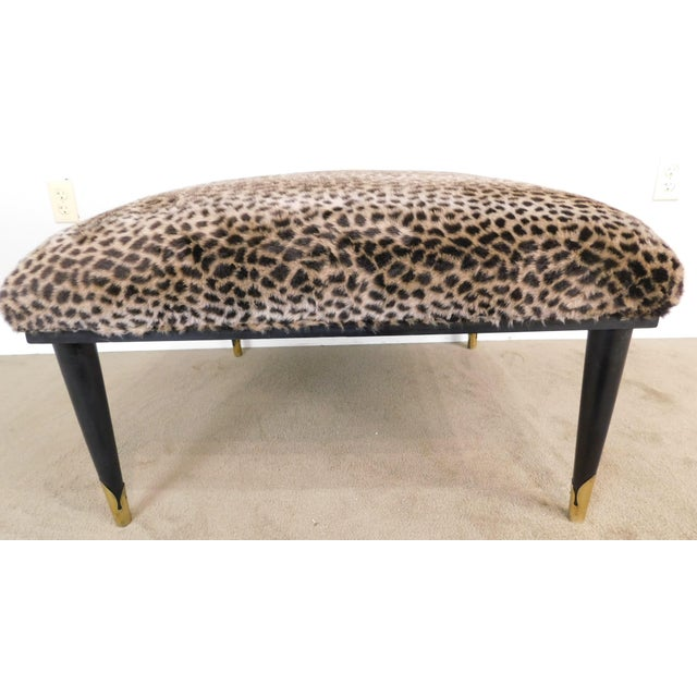 Mid Century Modern Square Cheetah Print Ottoman For Sale - Image 12 of 13
