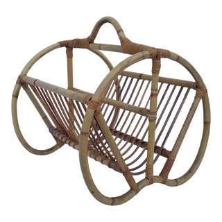 1970s Boho Chic Bamboo and Rattan Magazine Rack For Sale