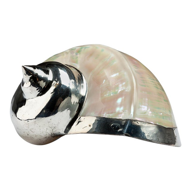 Diana Mother of Pearl Partially Silvered Sea Shell For Sale
