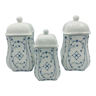Vintage Indian Blue Square Kitchen Canisters - Set of 3 For Sale