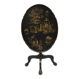 Black Lacquer Oriental English Jappaned Style Tilt Top Pedestal Table For Sale