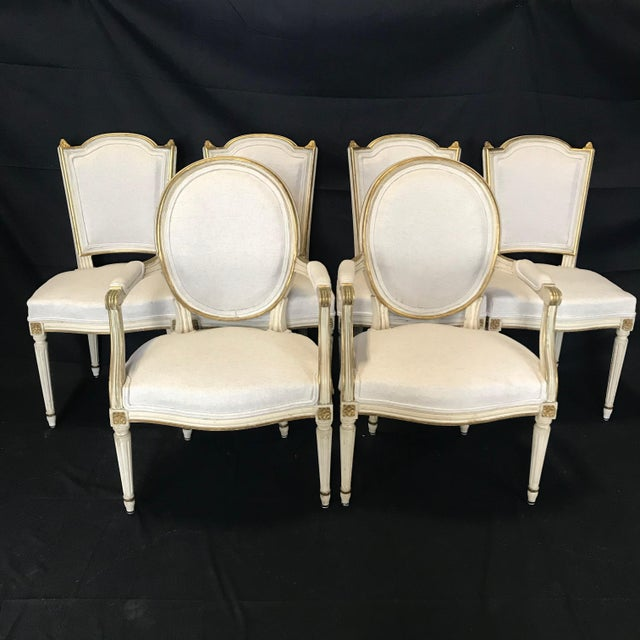 Antique Painted Louis XVI Gustavian Style Dining Chairs -Set of 6 For Sale - Image 13 of 13