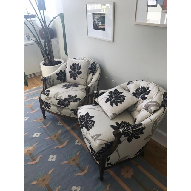 Newly Reupholstered Transitional Accent Chairs - a Pair - Image 2 of 5