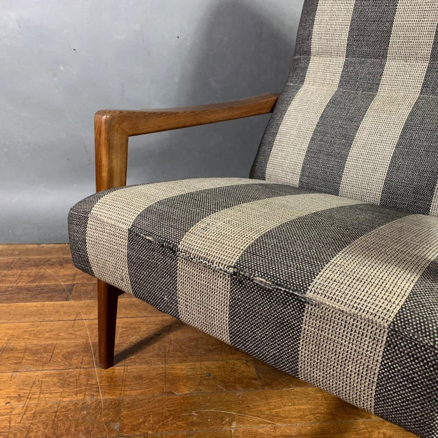 Wood 1960s Scandinavian Striped-Wool & Walnut Lounge Chair For Sale - Image 7 of 9