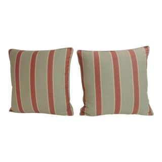 Pair of Red and Green Bennison Stripe Fabric Decorative Pillows For Sale