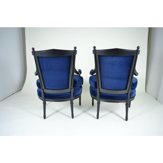 Pair of Directoire Style Fauteuil Chairs For Sale - Image 9 of 10