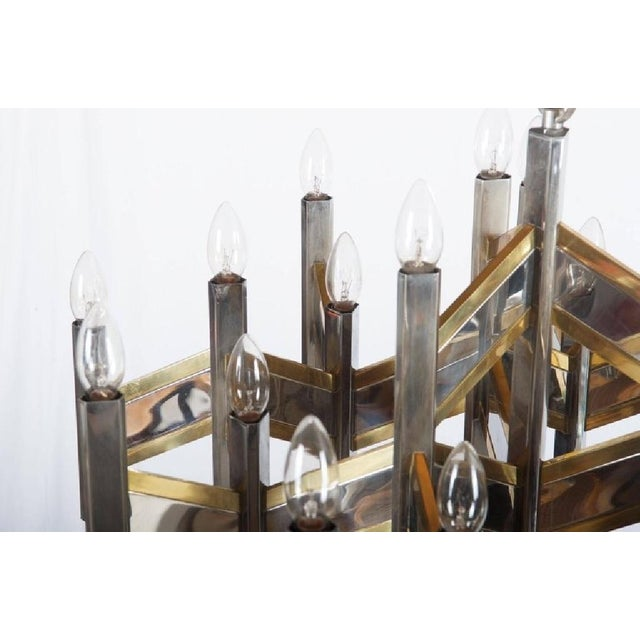 Italian Chrome and Brass Chevron Chandelier with 21 Lights by Gaetano Sciolari, 1966 For Sale - Image 10 of 11