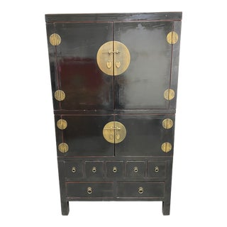 MDI 20th Century Black Lacquered Chinese Armoire For Sale