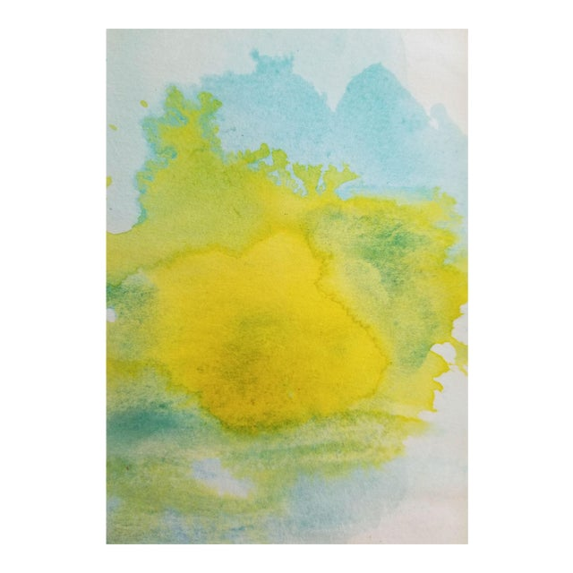 """Lemon Sun"" Modern Abstract Original Watercolor Painting - Image 1 of 5"