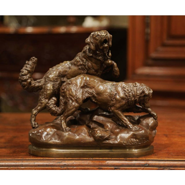 19th Century French Patinated Bronze Hunting Dogs Sculpture Signed Ch. Valton For Sale - Image 9 of 9