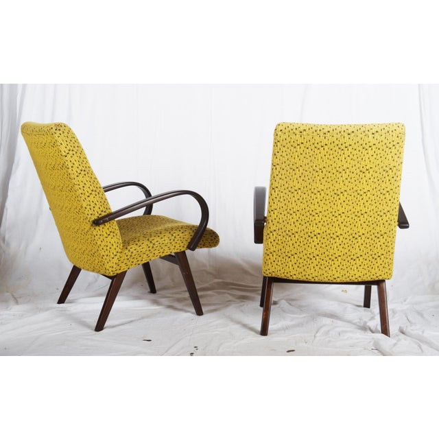 Mid-Century Czech Upholstered Chairs, 1960s - A Pair For Sale - Image 6 of 11