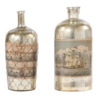 Pair 20th Century Mercury Glass Decorative Pieces For Sale