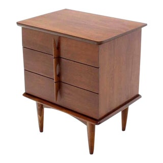 Vintage Mid Century Walnut Three Drawer Nightstand For Sale