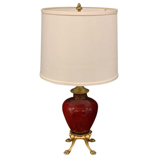 Sang De Boeuf, Ormolu Mounted Vase, by Rookwood 1936, Now as a Lamp, Light Glaze For Sale