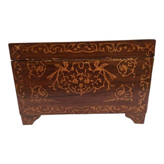Large Italian Wedding Chest Inlaid With Precious Fruitwood For Sale
