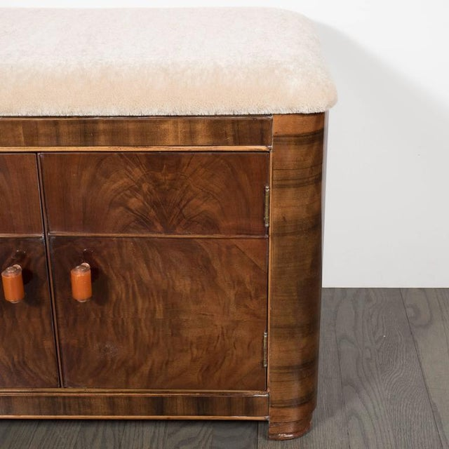 Art Deco Machine Age Storage Bench in Bookmatched Walnut and Camel Mohair For Sale - Image 9 of 10