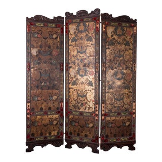 Spanish Leather Screen, 19th Century For Sale