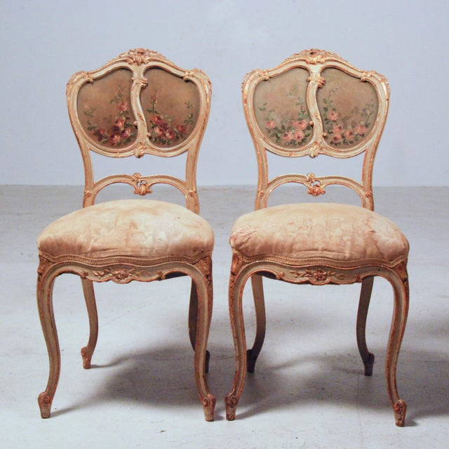 French Gilt & Painted Boudoir Chairs - A Pair For Sale - Image 5 of 11
