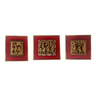 Antique Late 18th Century Chinese Gilt Carved Mounted Fragments - Set of 3 For Sale