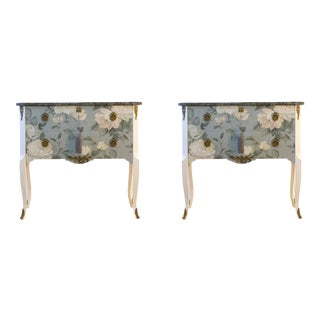 1950s Gustavian Louis XV Style Commodes With Floral Pattern - a Pair For Sale