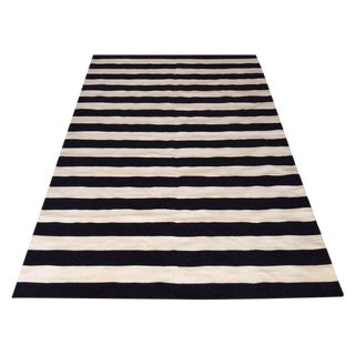 Striped Flat Weave Cotton Rug - 6′ × 9′