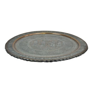 Antique Handmade Engraved Oval Copper Plate