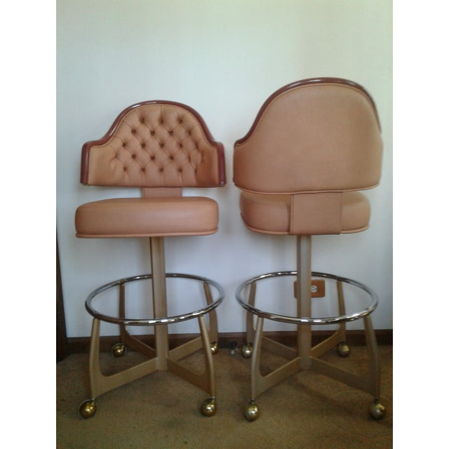 Two eye catching vintage Mid Century and Art Deco influenced Gasser Furniture Bar or Gaming chairs. Make your bar pop with...