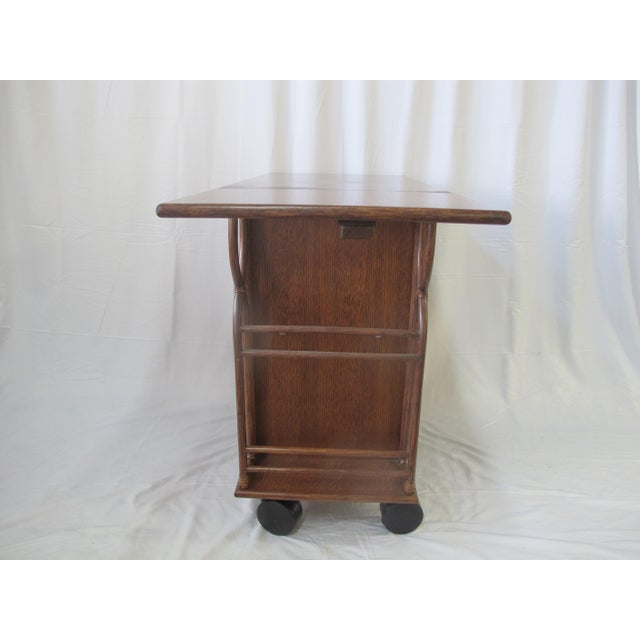 McGuire 1980s Mid-Century Modern McGuire Wood Dry Bar Rolling Cart For Sale - Image 4 of 12