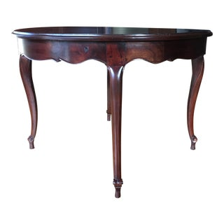 Vintage Round Lacquer Mahogany Dining Table For Sale