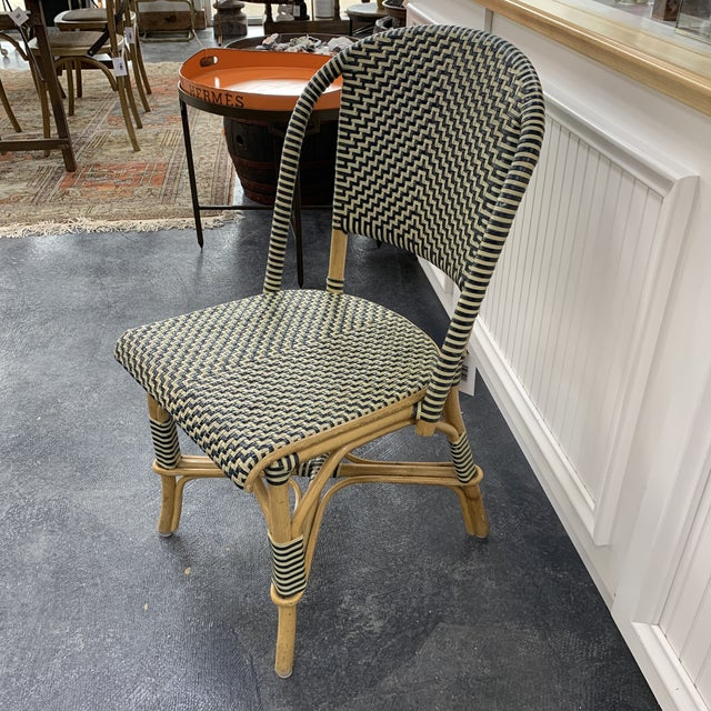 French Vintage Leather Woven Bistro Chair (Navy&White) For Sale - Image 3 of 8