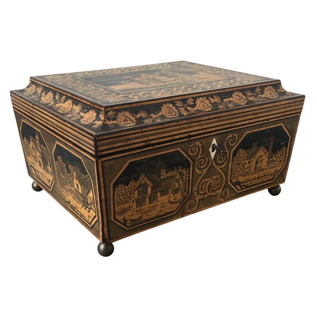 19th Century English Pen-Work Decorated Box For Sale