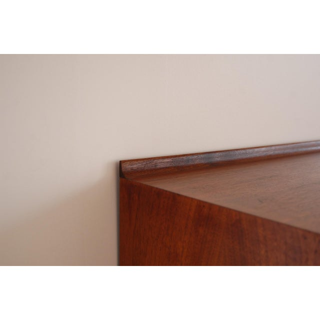 Metal Vintage Mid Century Modernist Walnut and Metal Wall Hanging Cabinet For Sale - Image 7 of 8