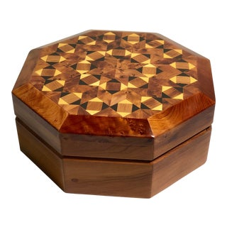Late 20th Century Handmade Burl Inlay Octagonal Jewelry Box For Sale