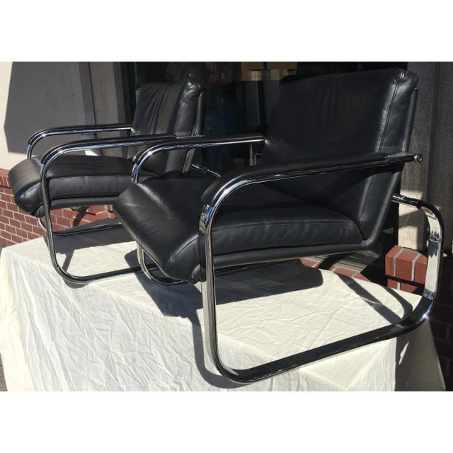 Silver Milo Baughman Style Chrome Leather Lounge Chairs For Sale - Image 8 of 8