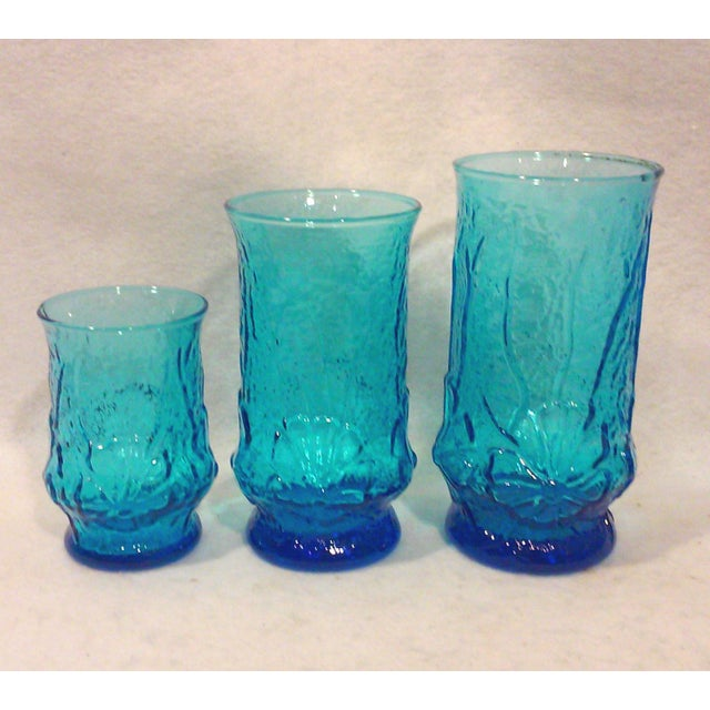Turquoise Glass Pitcher and Tumblers Set of 17 For Sale - Image 5 of 6