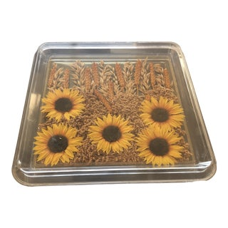Vintage Lucite Tray With Sunflowers and Wheat For Sale