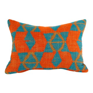 Orange and Blue Triangles Pillow For Sale