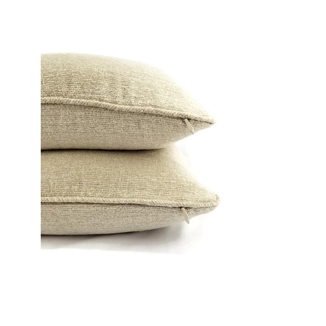 Holly Hunt Holly Hunt Dalai Lama Himalayas Cream Chenille Pillow Cover For Sale - Image 4 of 5