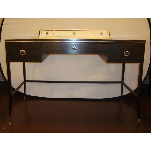 Jonathan Charles Hollywood Regency Leather And Macassar Desk Or Vanity A Stylish Fancy