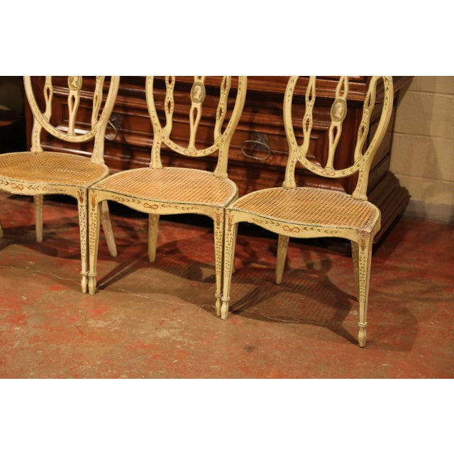 Hepplewhite Mid-19th Century Vintage Hepplewhite Style Painted Chairs- Set of 4 For Sale - Image 3 of 13