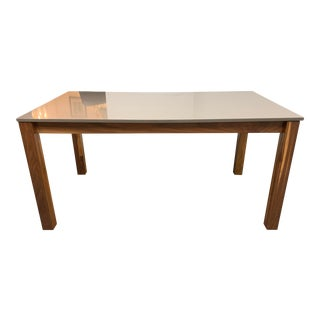Room & Board Linden Walnut + Stone Top Table For Sale