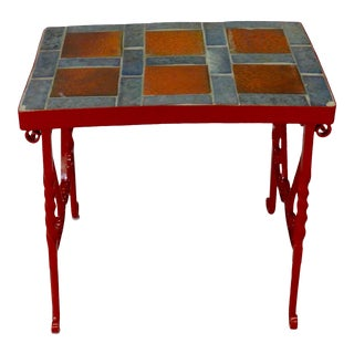 Early Tile in Cement Top Wrought Iron Table For Sale