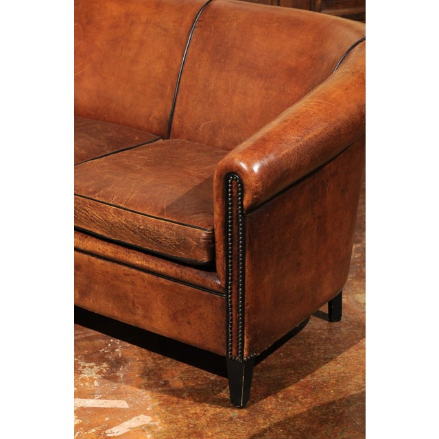 French Turn of the Century Brown Leather Sofa with Nailhead Trim, circa 1900 For Sale - Image 4 of 12