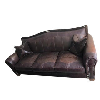 Maitland-Smith Leather and Suede Sofa For Sale