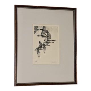 "Richard Bishop (American, 1887-1975) ""Geese"" Etching C.1938 For Sale"