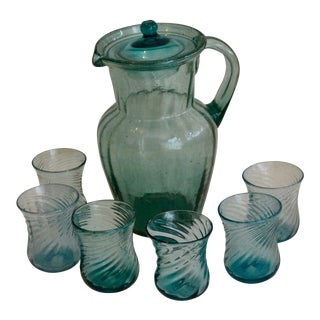 Vintage Mexican Glass Pitcher & Glasses - Set of 7 For Sale
